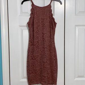 Mauve Scallop Lace Dress